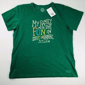 Life Is Good Women's Green Graphic Attitude Shirt
